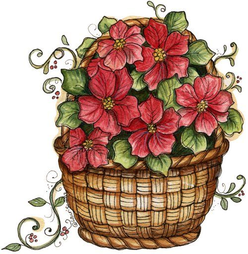 Flower bucket clipart jpg free stock flower bucket | Clipart | Christmas art, Christmas flowers, Decoupage jpg free stock