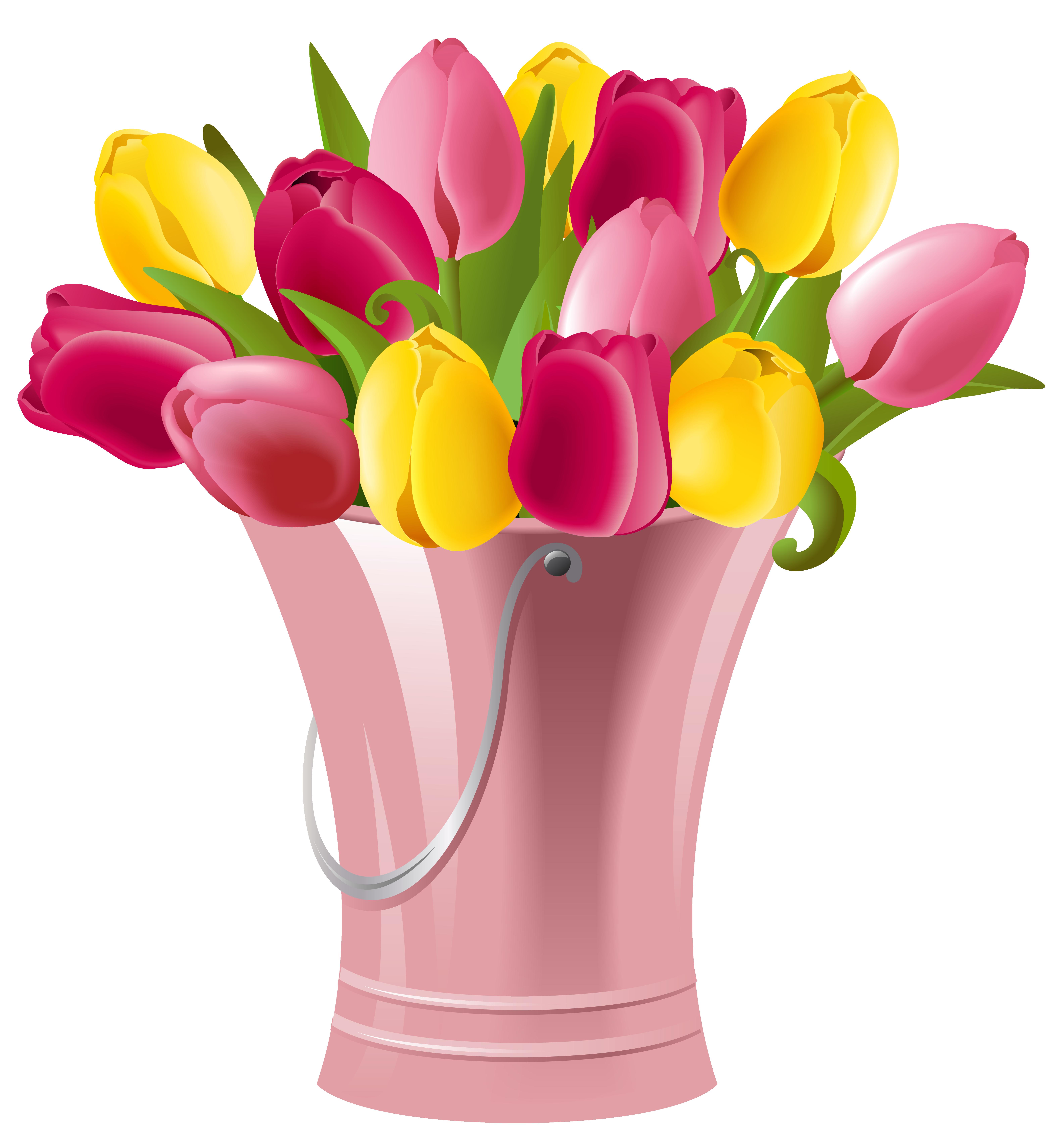 Flower bucket clipart clip art transparent Spring Bucket with Tulips Transparent PNG Clip Art Image | Gallery ... clip art transparent