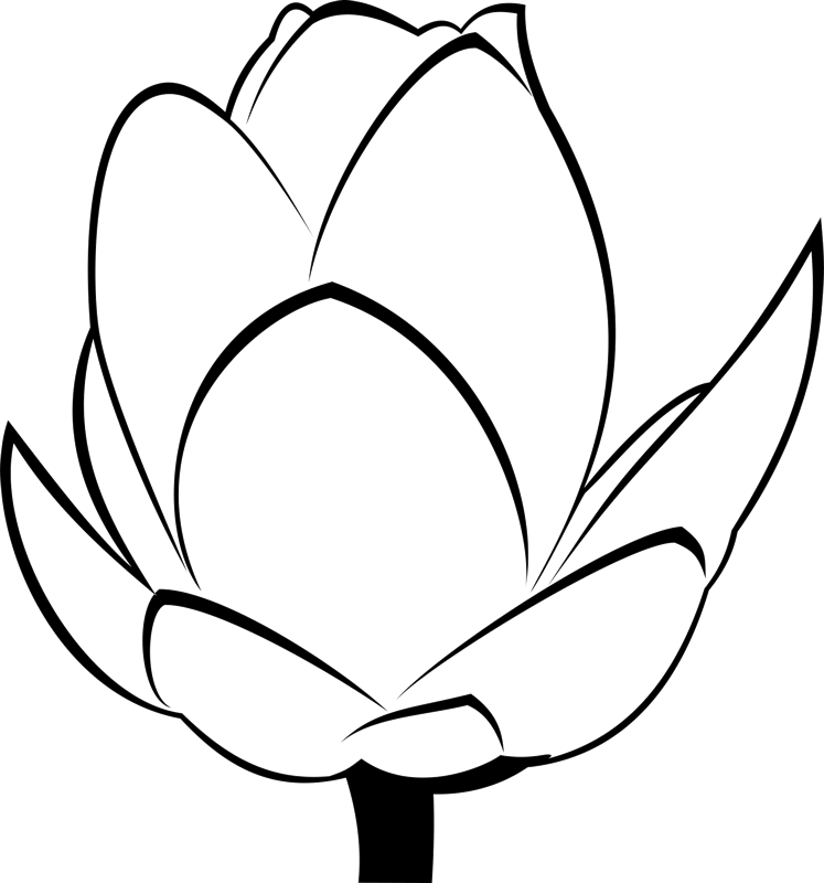Leaf stamps stamptopia bloom. Flower bud clipart black and white