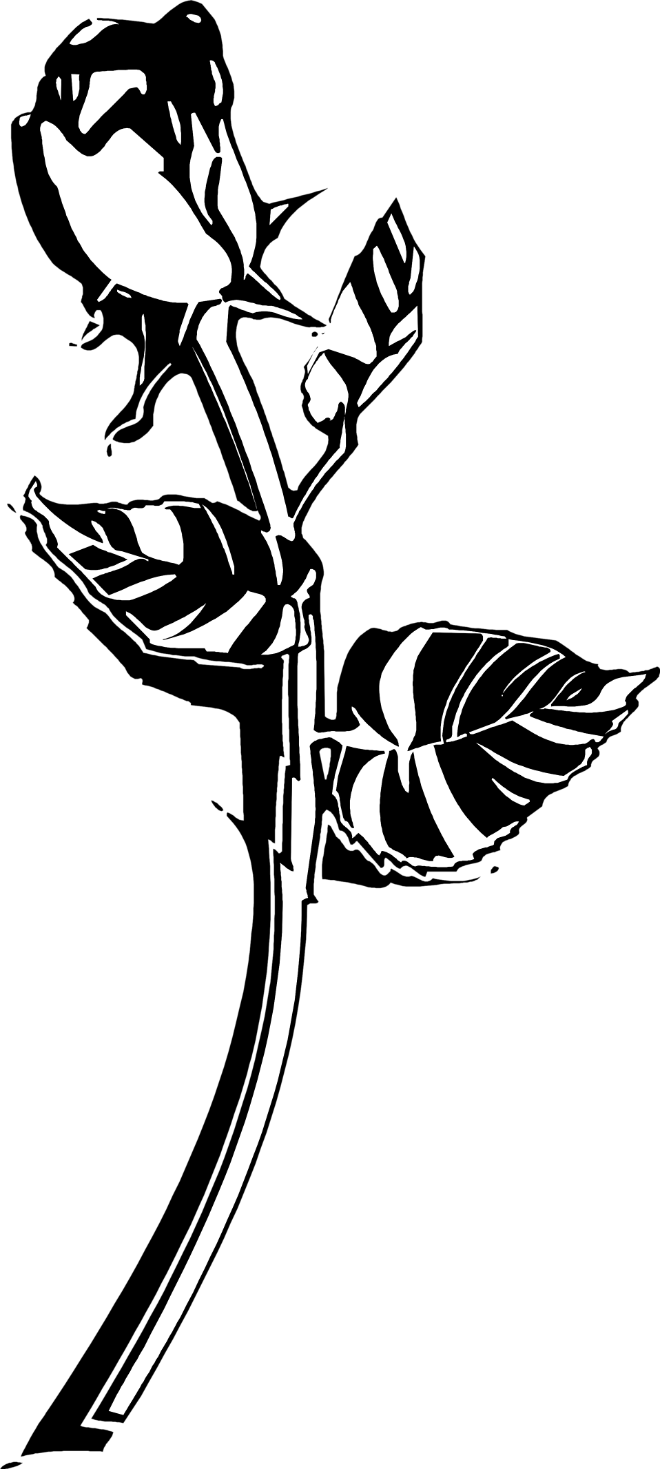Flower stem black and white clipart picture black and white download Rose | Free Stock Photo | Illustration of a long stem rose | # 9623 picture black and white download