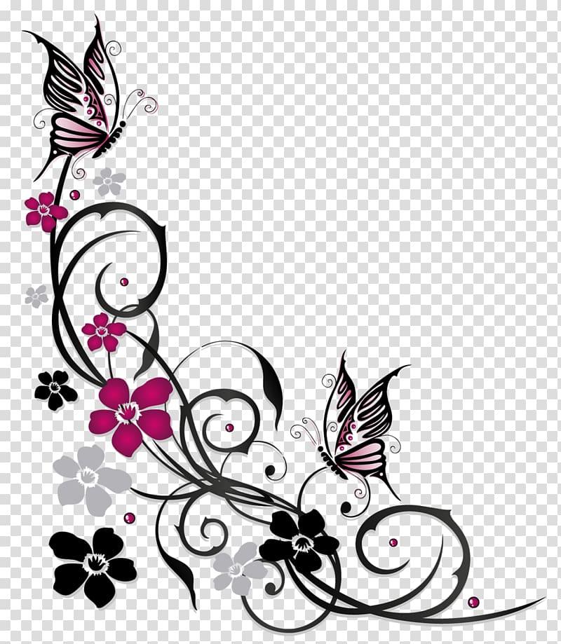Flower butterflies clipart black and white border transparent Purple and black swirl flowers borderline illustration, Butterfly ... transparent