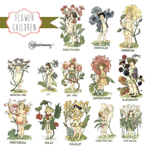 Flower children clipart