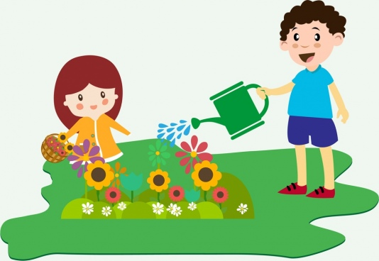 Cliparts planting flowers banner library library Children planting free vector download (6,175 Free vector) for ... banner library library
