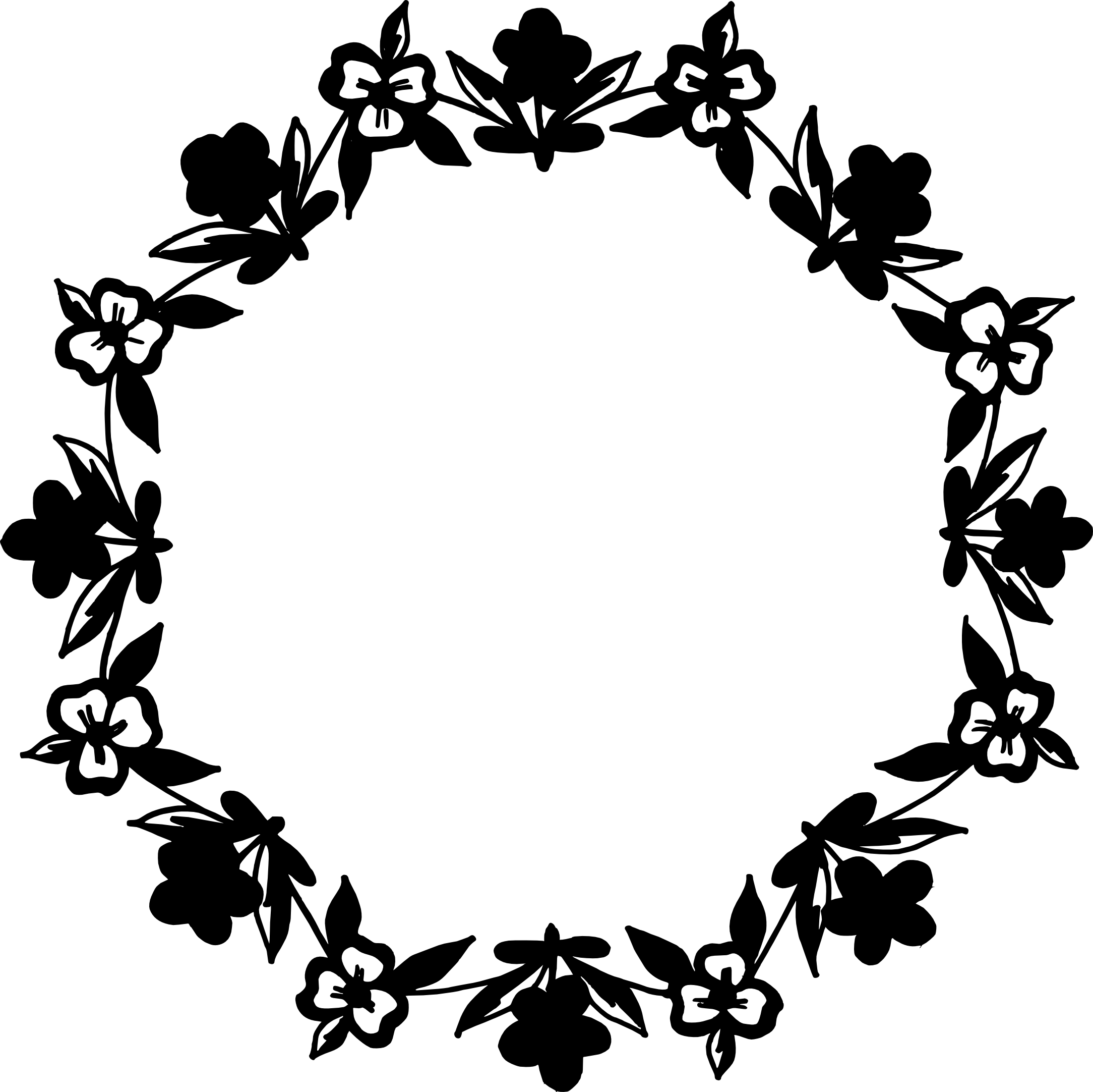 Flower circle border clipart clipart black and white stock 10 Circle Floral Frame Vector (PNG Transparent, SVG) | OnlyGFX.com clipart black and white stock