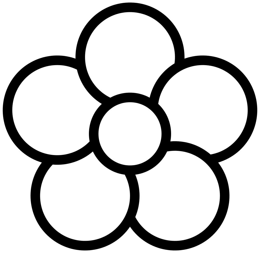 Flower clipart 5 petals svg black and white stock File:Five-petal flower icon.white.svg - Wikimedia Commons svg black and white stock