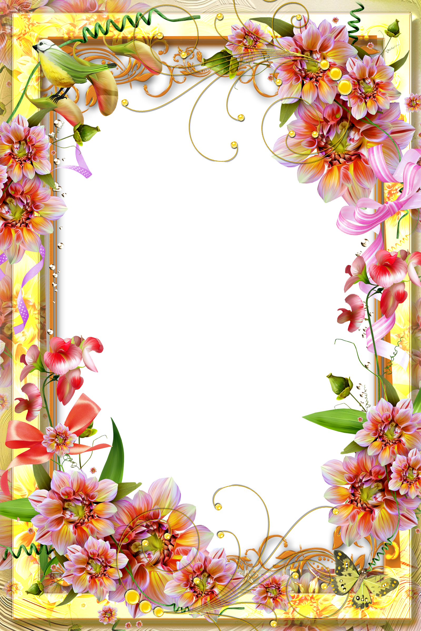 Yellow flower border clipart banner royalty free library Yellow Transparent Frame | Flower Wallpaper | Pinterest | Stationary ... banner royalty free library