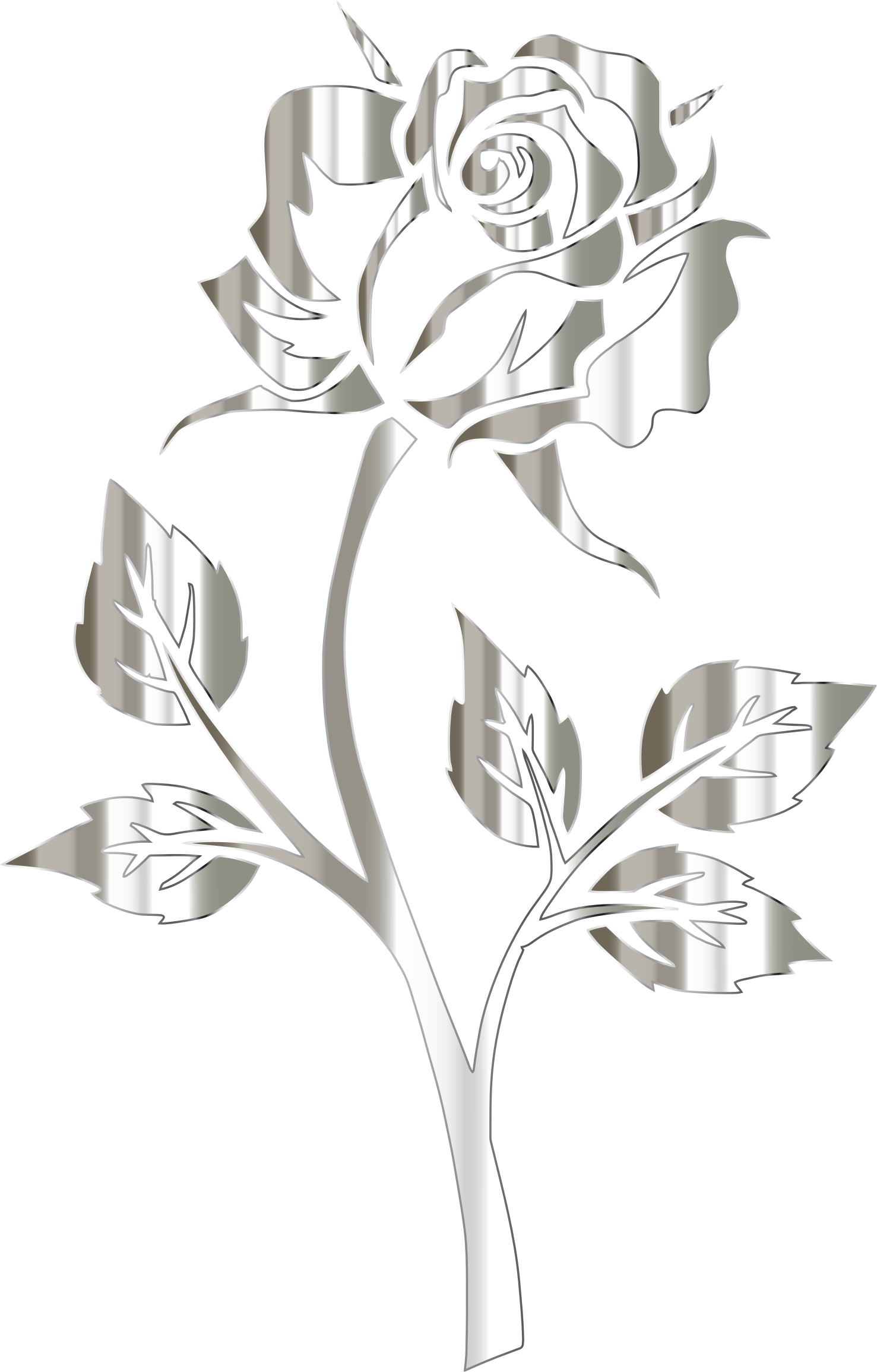 Polished silver rose silhouette. Flower clipart black background