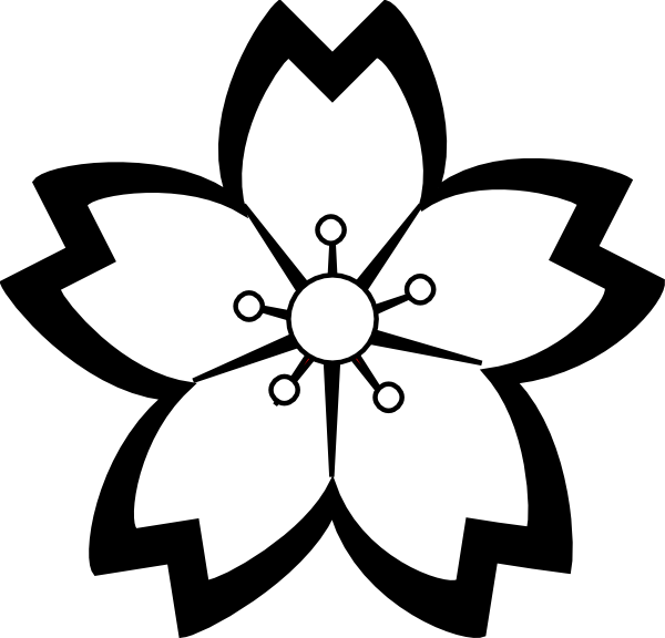 Black and white clipart flower vector royalty free stock Sakura Flower Clipart Png | Clipart Panda - Free Clipart Images vector royalty free stock