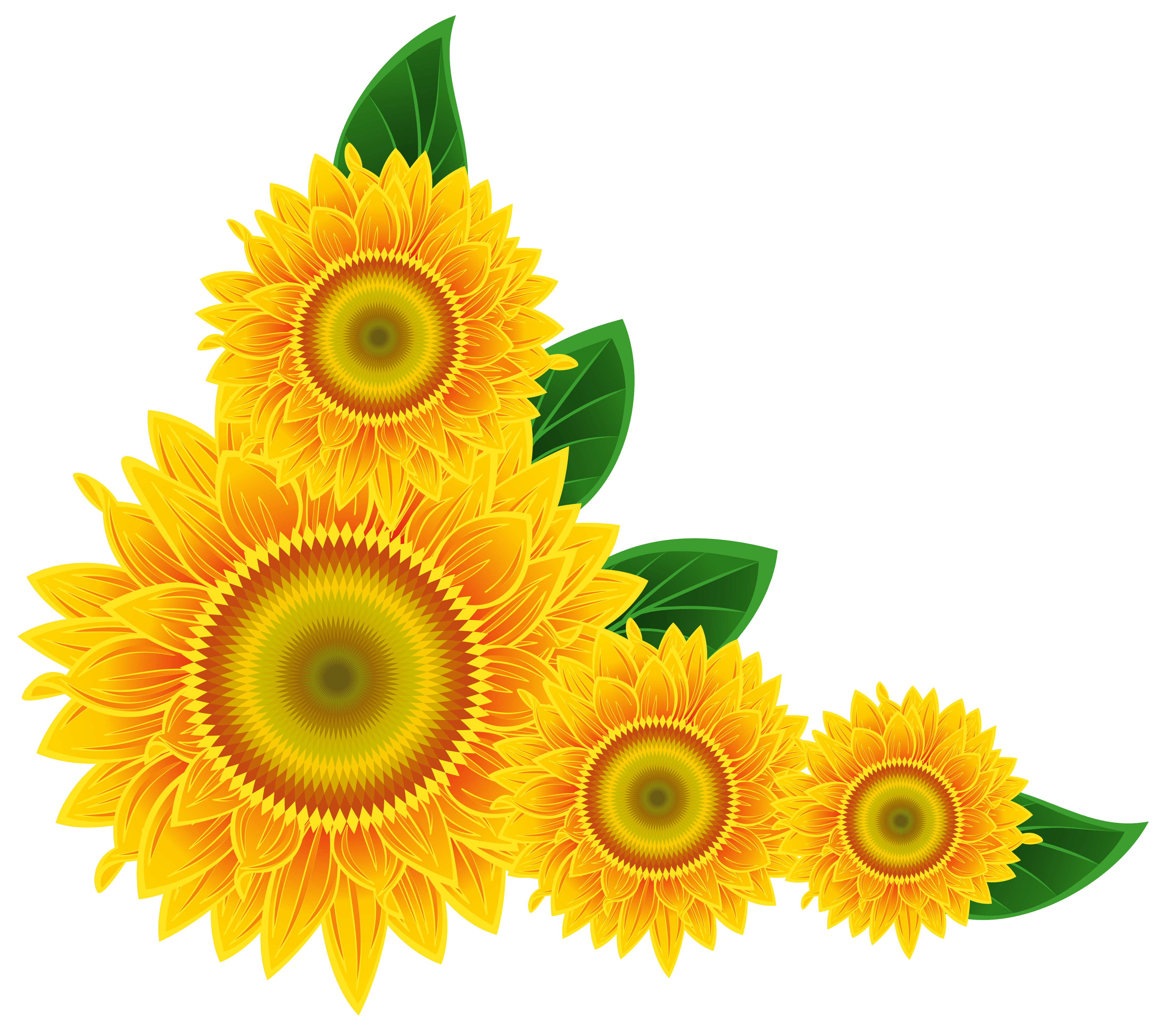 Yellow flower border clipart vector royalty free Sunflower Corner Decoration PNG Clipart Image | Gallery ... vector royalty free