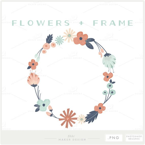 Flower overlay clipart graphic library stock Floral Frame - PNG Files - Photoshop Brush - Photo Overlay - Flower ... graphic library stock
