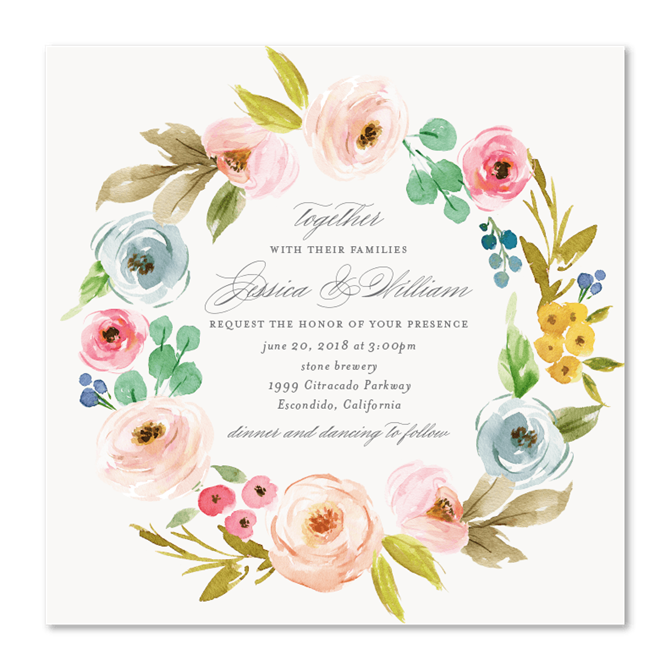 Flower clipart for wedding invitations png royalty free download Wildflowers Wreath Wedding Invitations | Elegant Botany by ... png royalty free download