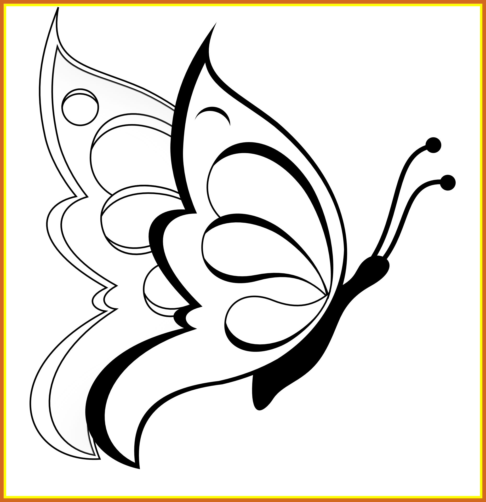 Sun flowers clipart black and white png library library Shocking Butterfly Clipart Black White Line Art Coloring Sheet Pics ... png library library