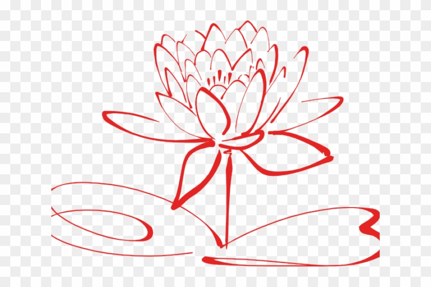 Flower clipart logo. Red line pink lotus