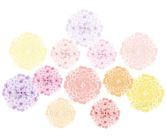 Flower clipart pastel color svg freeuse Chrysanthemum clipart Wedding flower clipart Digital Flower svg freeuse