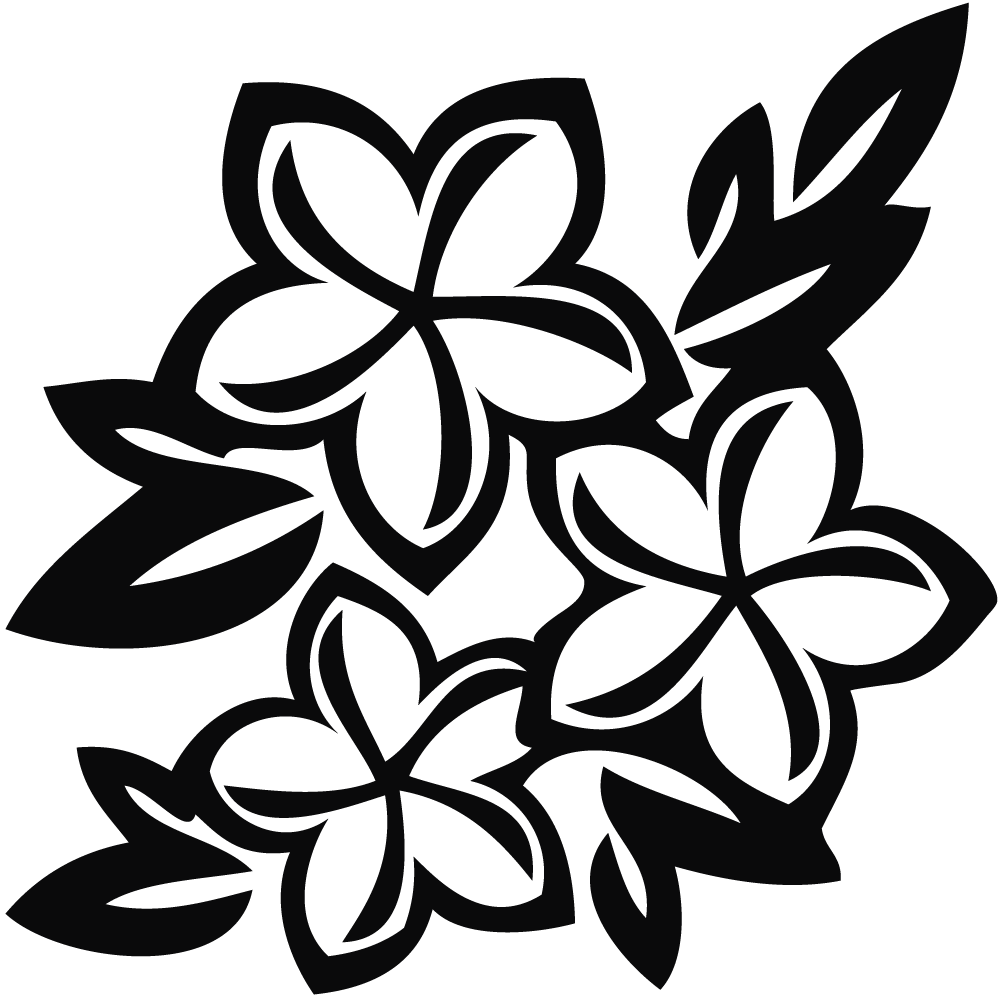 Pretty flower clipart black and white