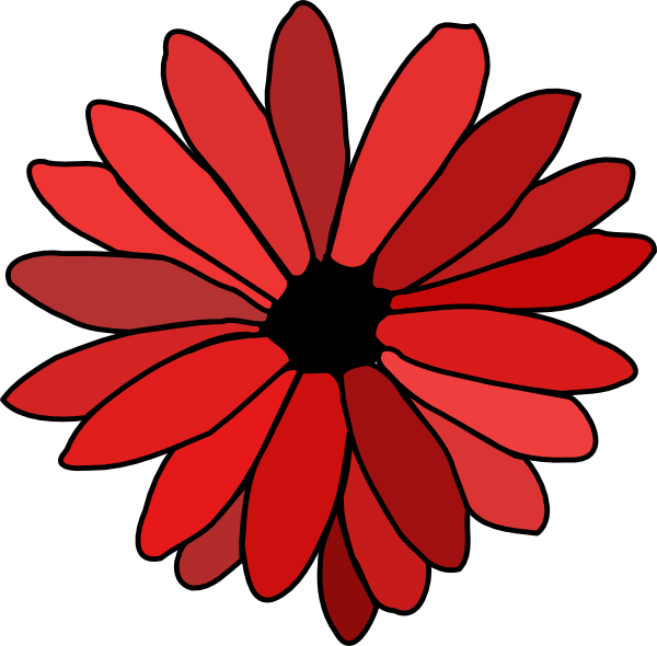 Flower clipart red banner black and white stock Red Flower Clip Art at Clker.com - vector clip art online, royalty ... banner black and white stock