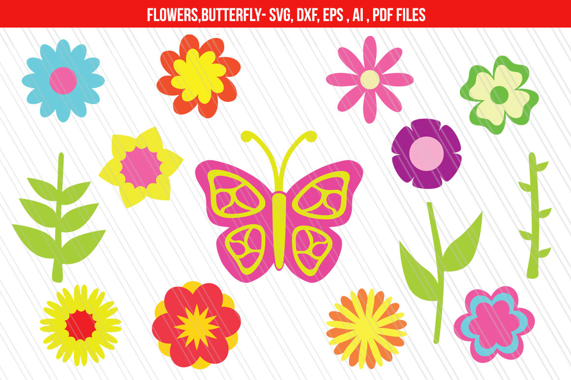 Flower clipart svg png royalty free Flowers Clipart / SVG,DXF cut files By aivos | TheHungryJPEG.com png royalty free