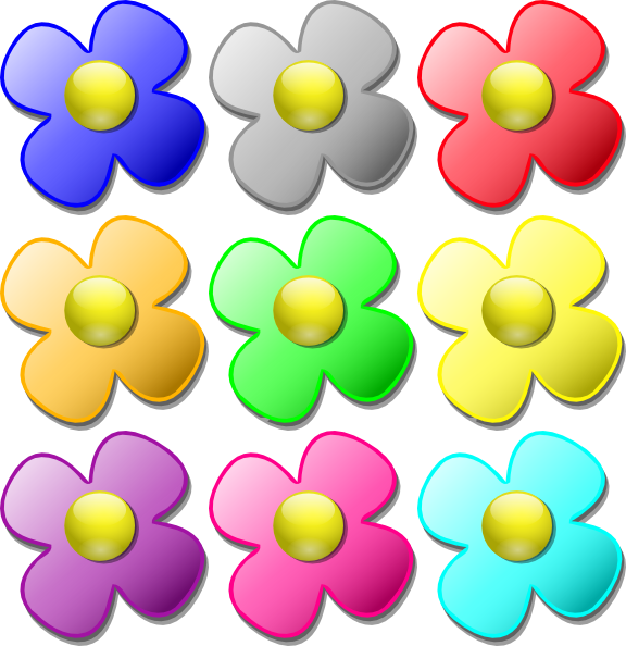 Flower clipart to color picture transparent Colored Flowers Clip Art at Clker.com - vector clip art online ... picture transparent