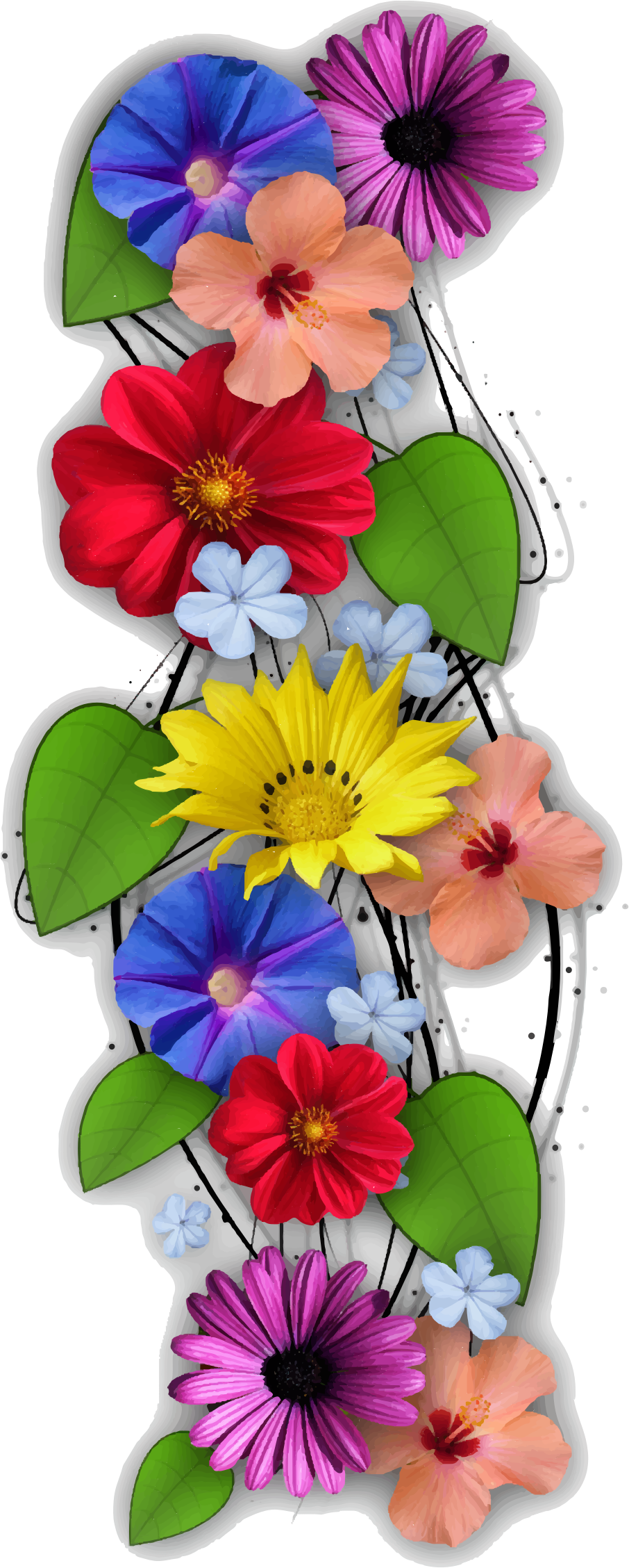 Vertical flower border clipart vector Clipart - Vertical Flowers vector