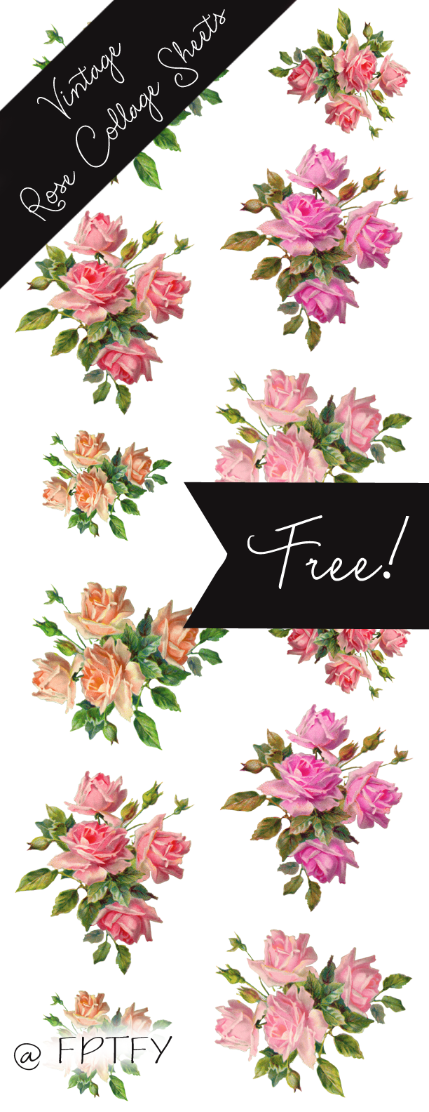 Flower collage clipart image free stock Gorgeous -Stock Vintage Rose Images | Best Free Digital Goods ... image free stock