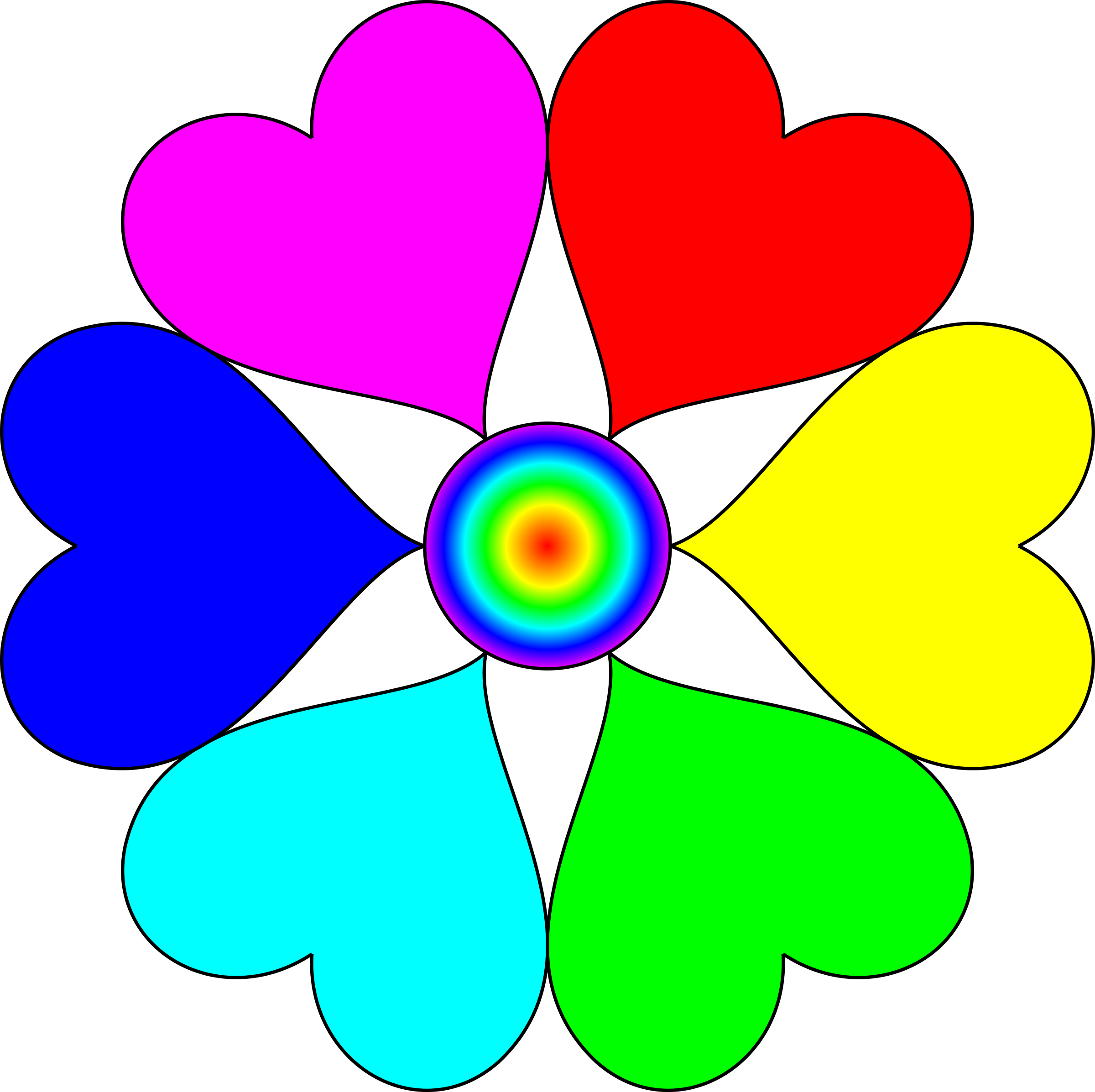 Flower colors clipart png library library Clipart - Spectral Color heart flower png library library