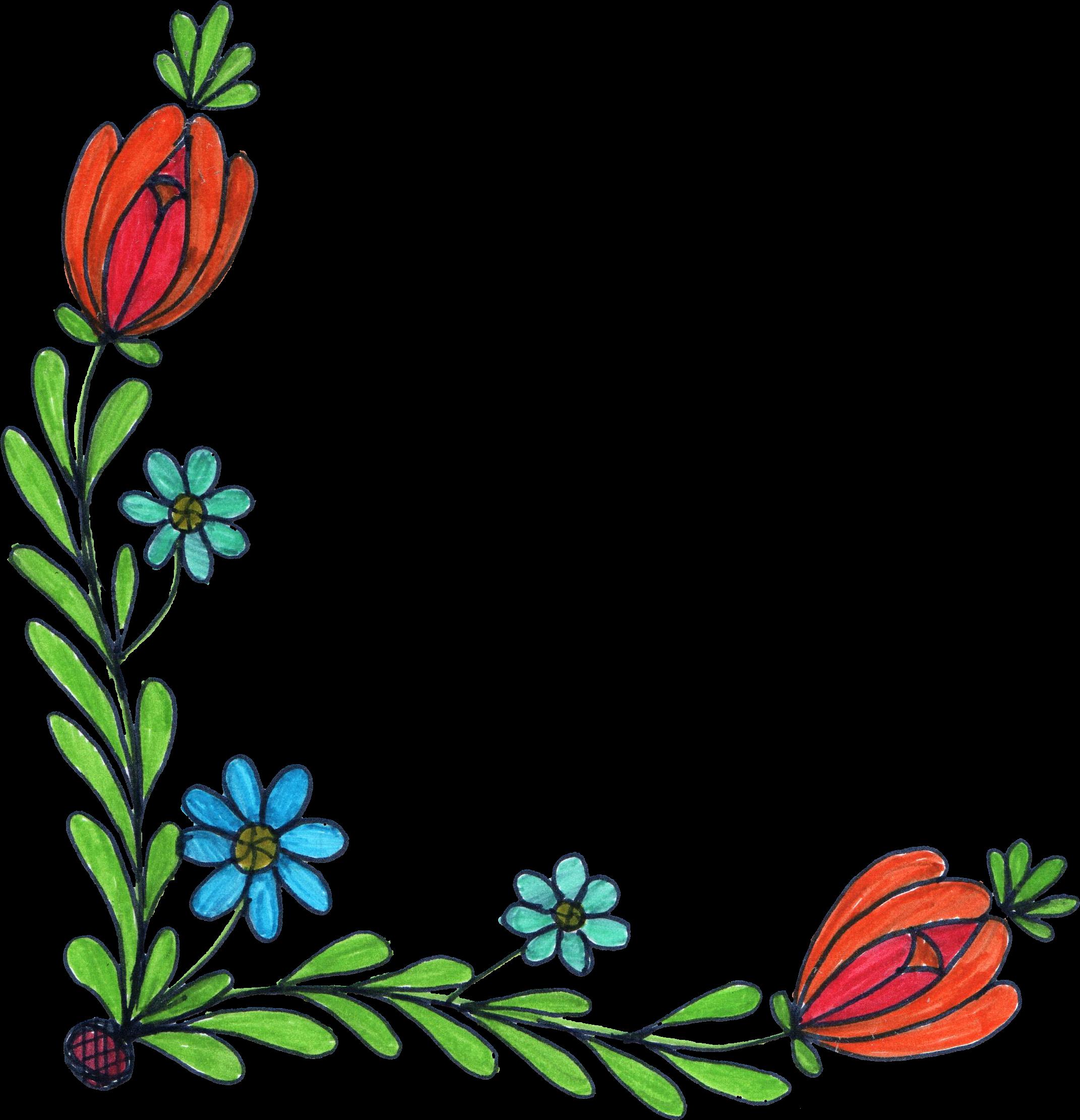 Free flower doodle clipart banner free download 5 Flower Corner Drawing (PNG Transparent) | OnlyGFX.com banner free download