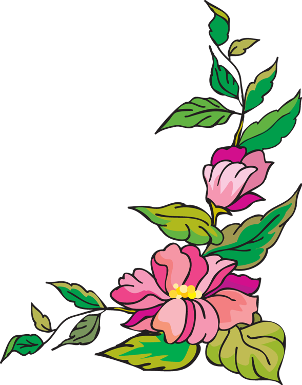 Border panda free images. Flower corner clipart