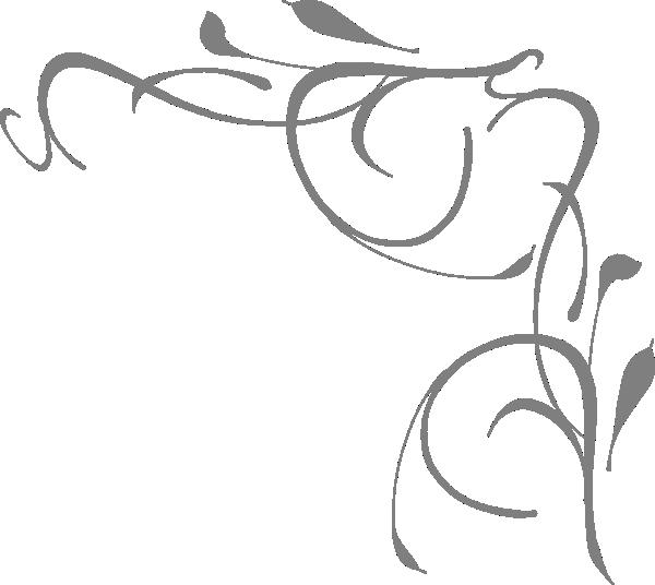 Gray floral clip art. Flower corner clipart