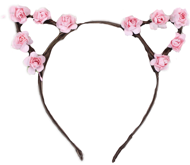 Flower crown clipart headband png free cat headband flowercrown flower kitty pink roses crown... png free