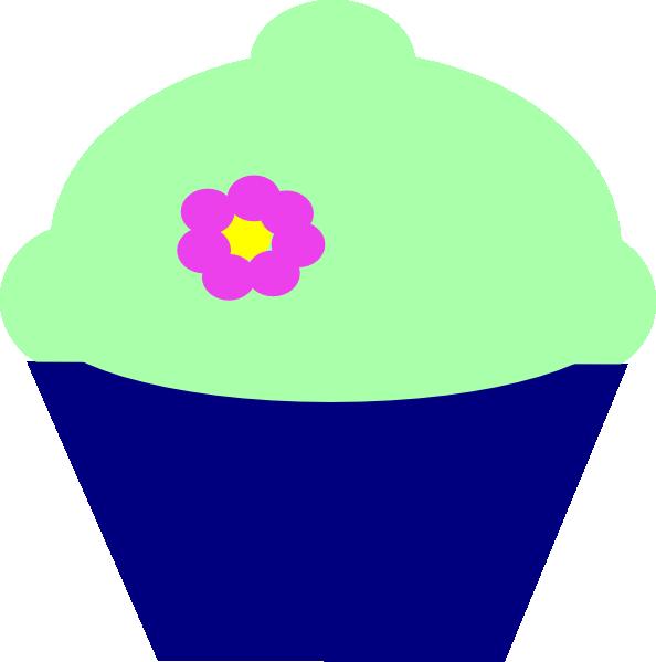 Flower cupcake clipart clip art freeuse Cupcake Blue Flower Clip Art at Clker.com - vector clip art online ... clip art freeuse