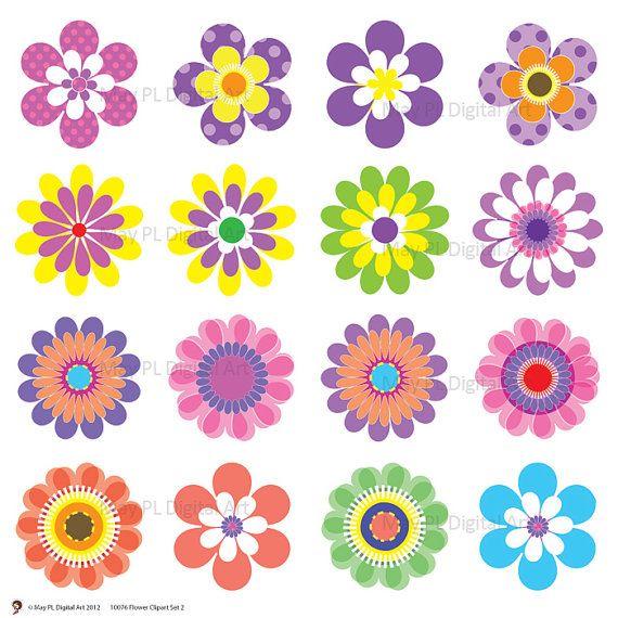 Digital spring flowers clip. Flower design clipart images