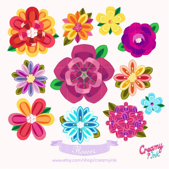 Flower design clipart images. Beautiful digital vector clip