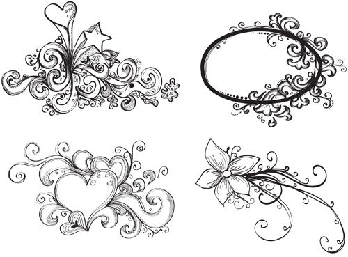 Flower drawings free download clipart freeuse library Floral Drawing Elements free vector - Vector Floral free download clipart freeuse library