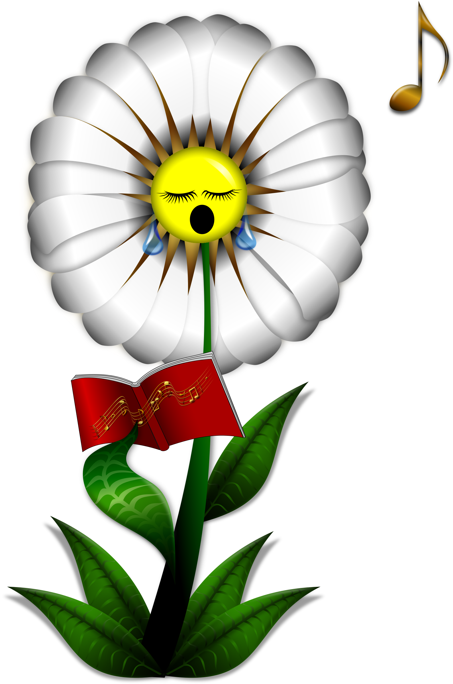 Flower faces clipart clip freeuse stock Clipart - Singing Daisy clip freeuse stock