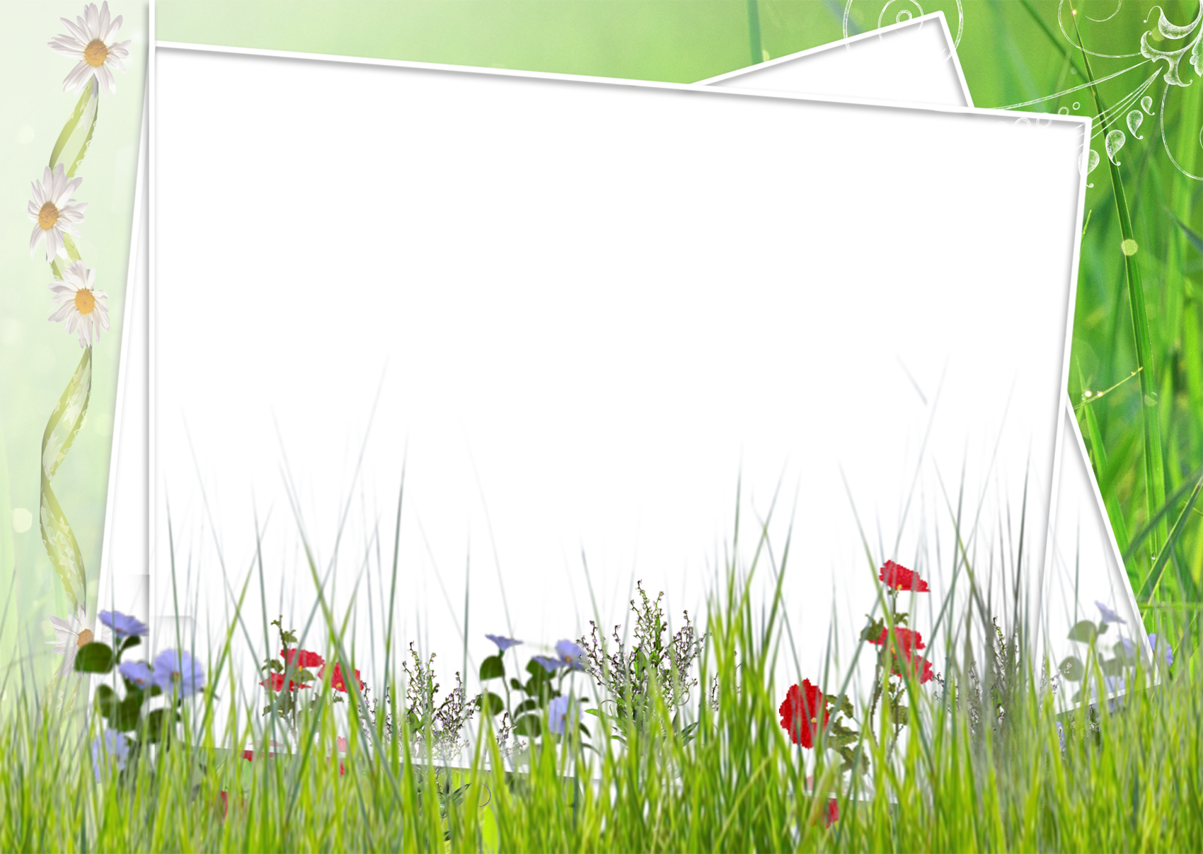 Flower field clipart image black and white library Green and White Transparent Frame with Field Flowers | Gallery ... image black and white library