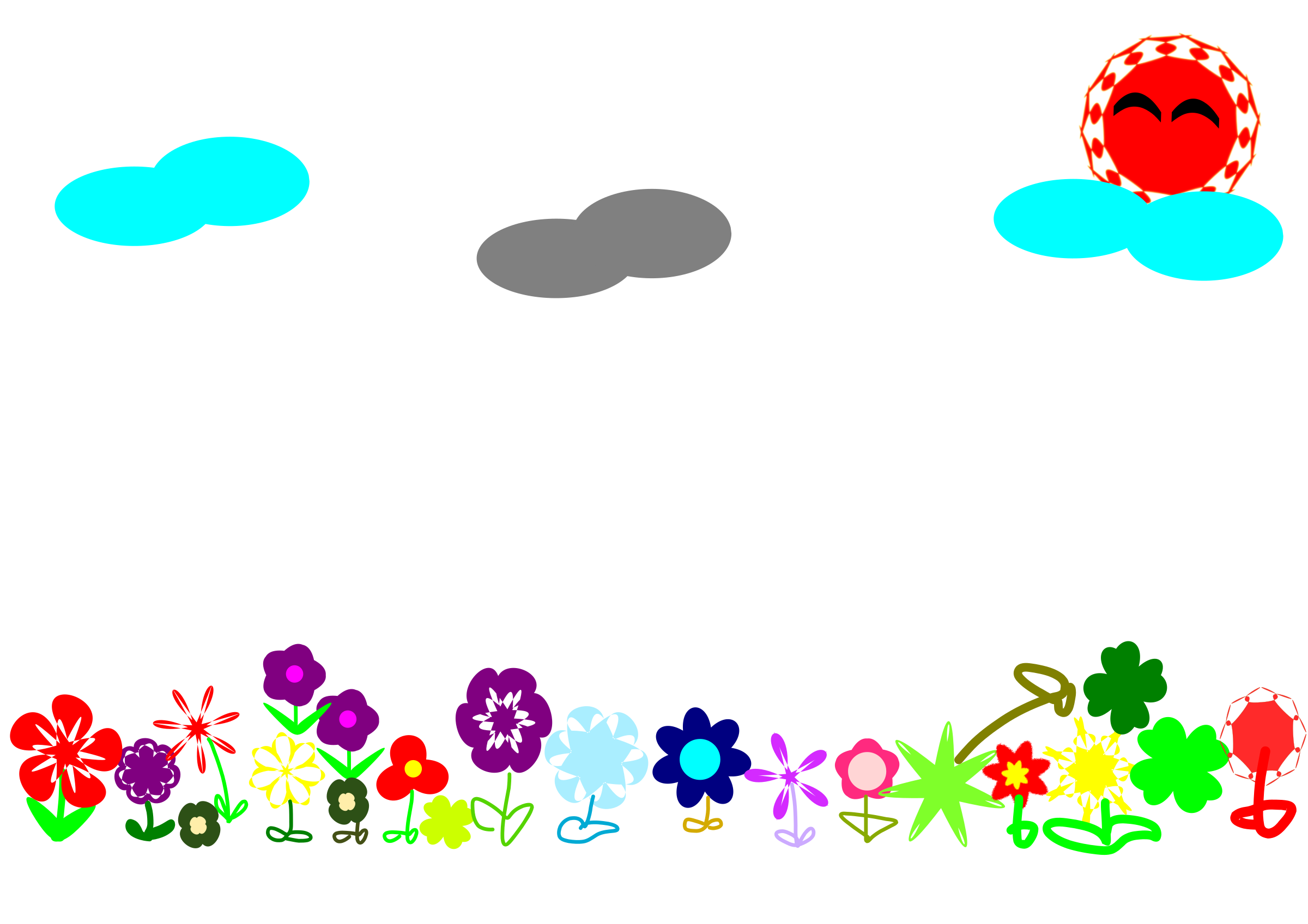 Flower field clipart picture black and white stock Clipart - flower field picture black and white stock
