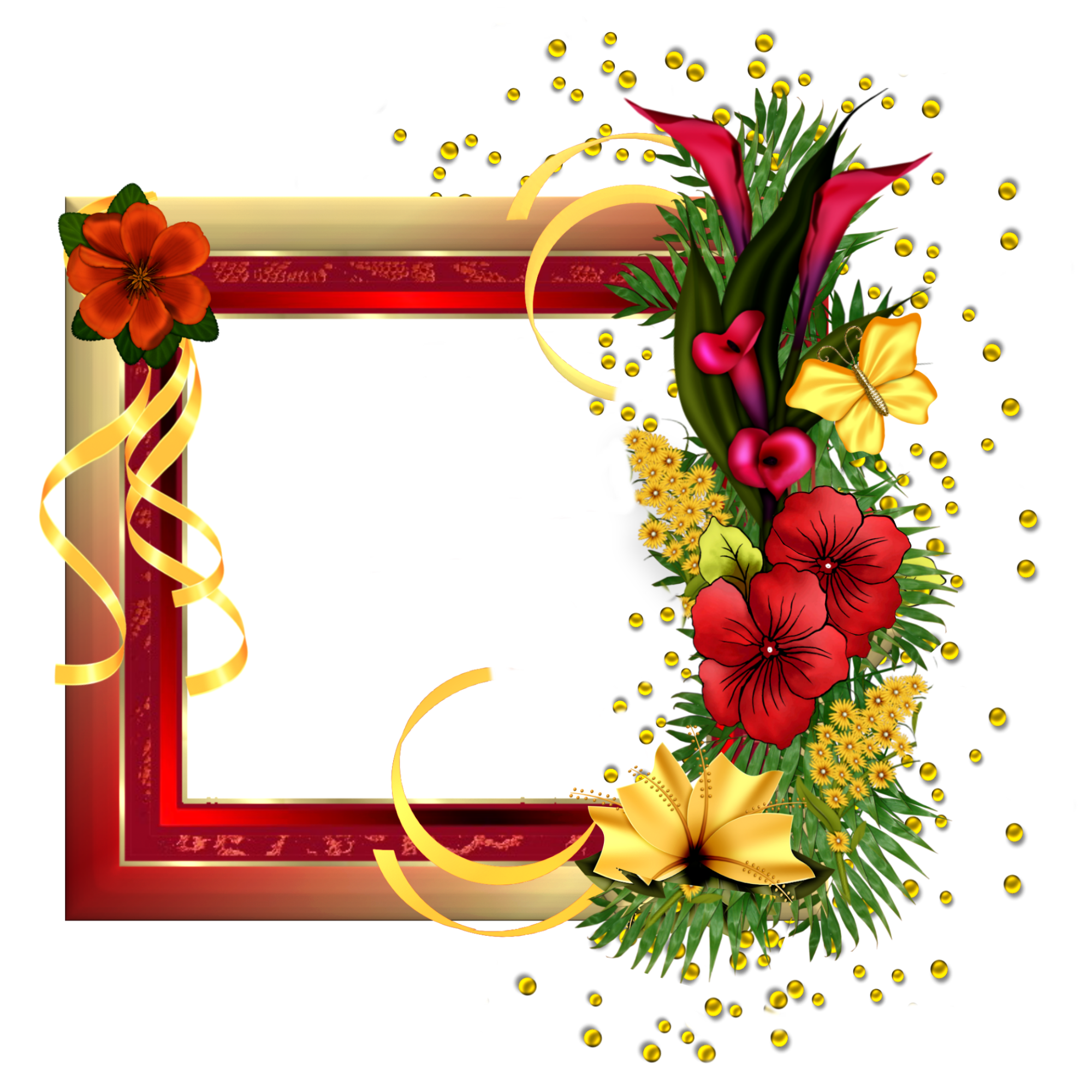 Red gold frame with. Flower fields clipart
