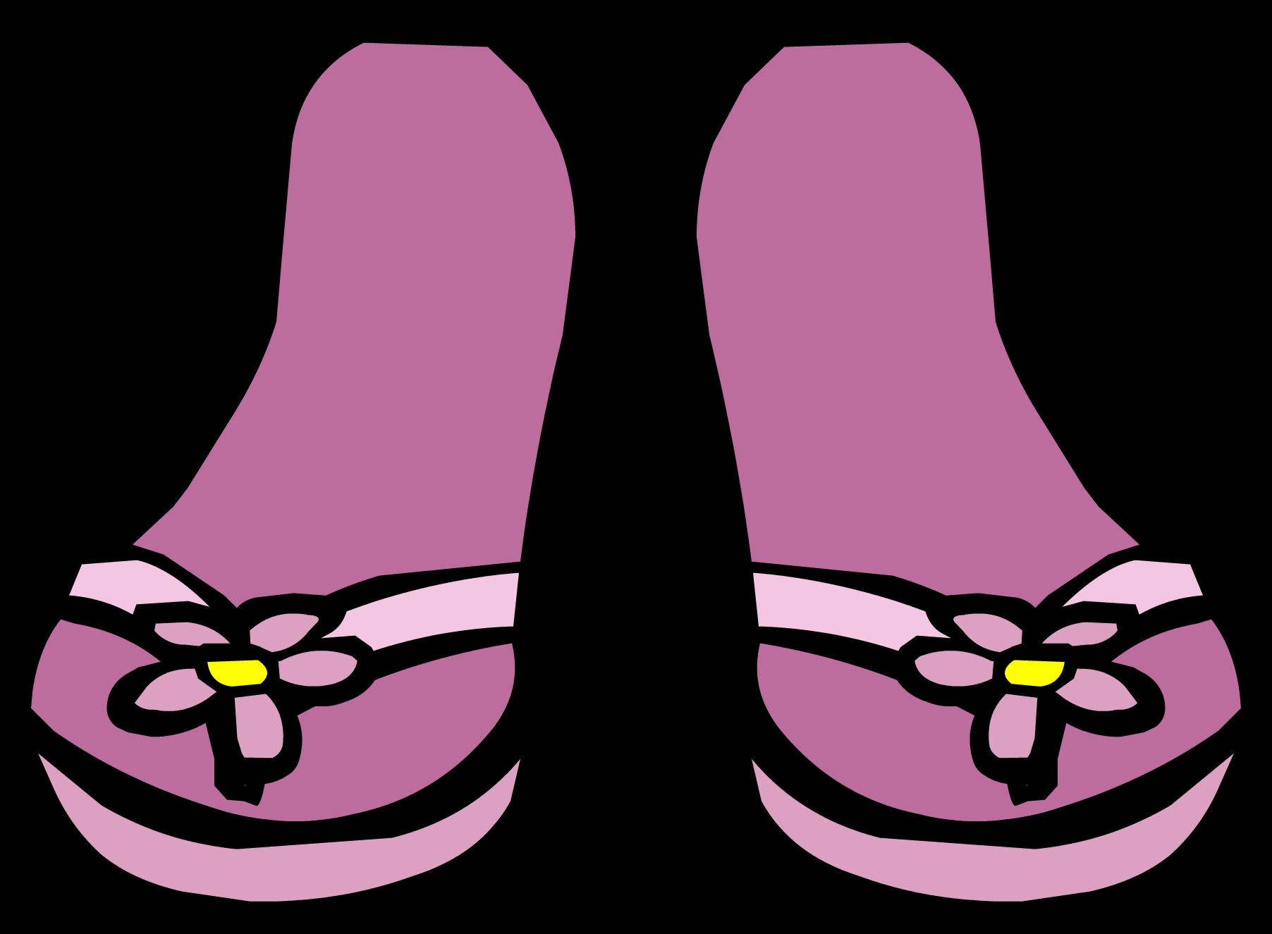 Flower flip flops clipart. Pink sandals club penguin