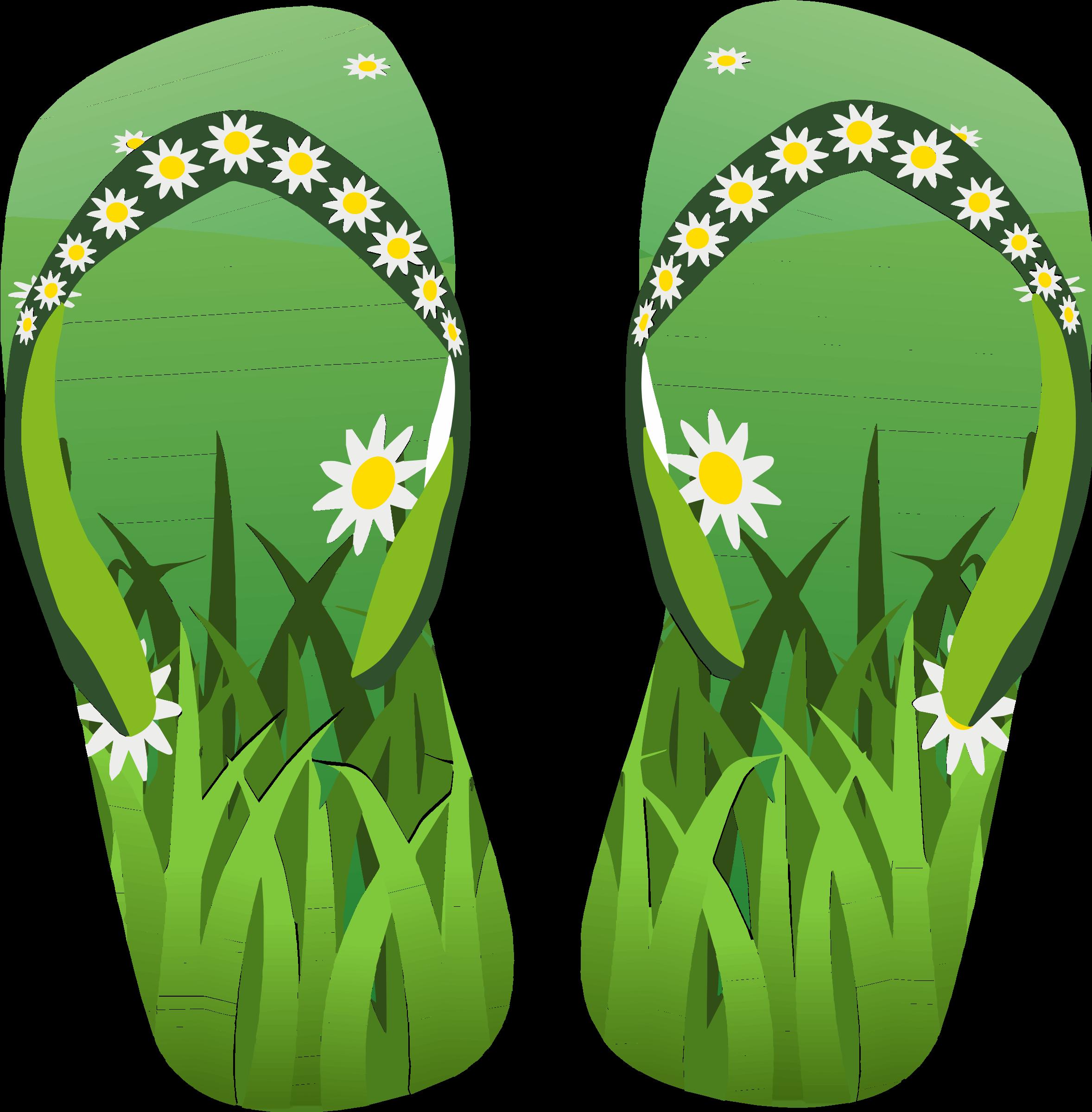 Thong green with grass. Flower flip flops clipart