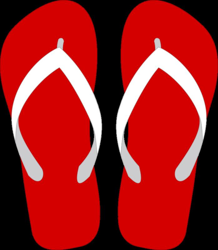 Red flop . Flower flip flops clipart