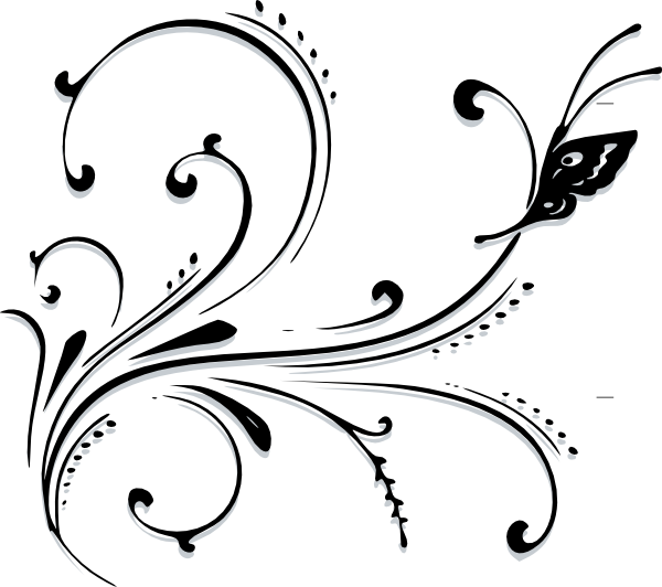 Flower flourish clipart. Butterfly scroll clip art