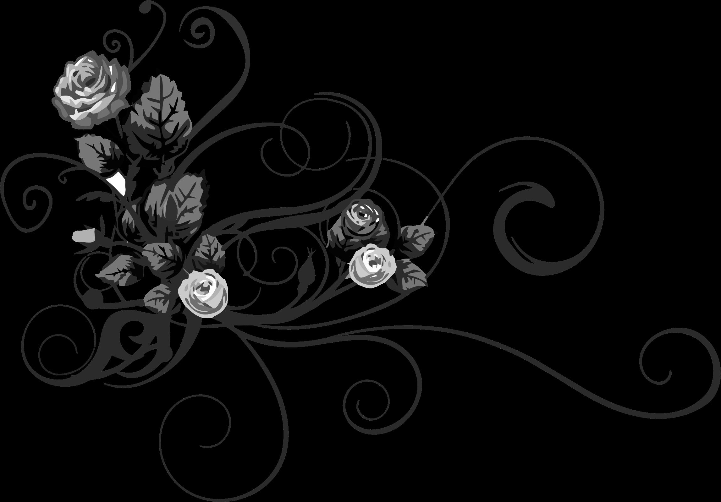 Rose floral big image. Flower flourish clipart