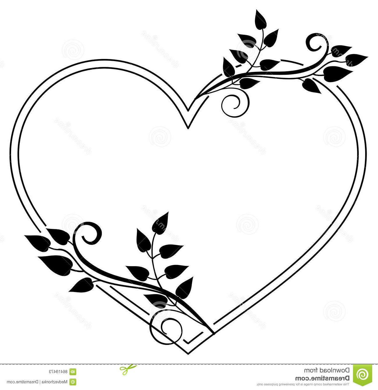 Flower frame and hearts clipart black and white