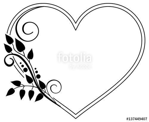 Free download best . Flower frame and hearts clipart black and white
