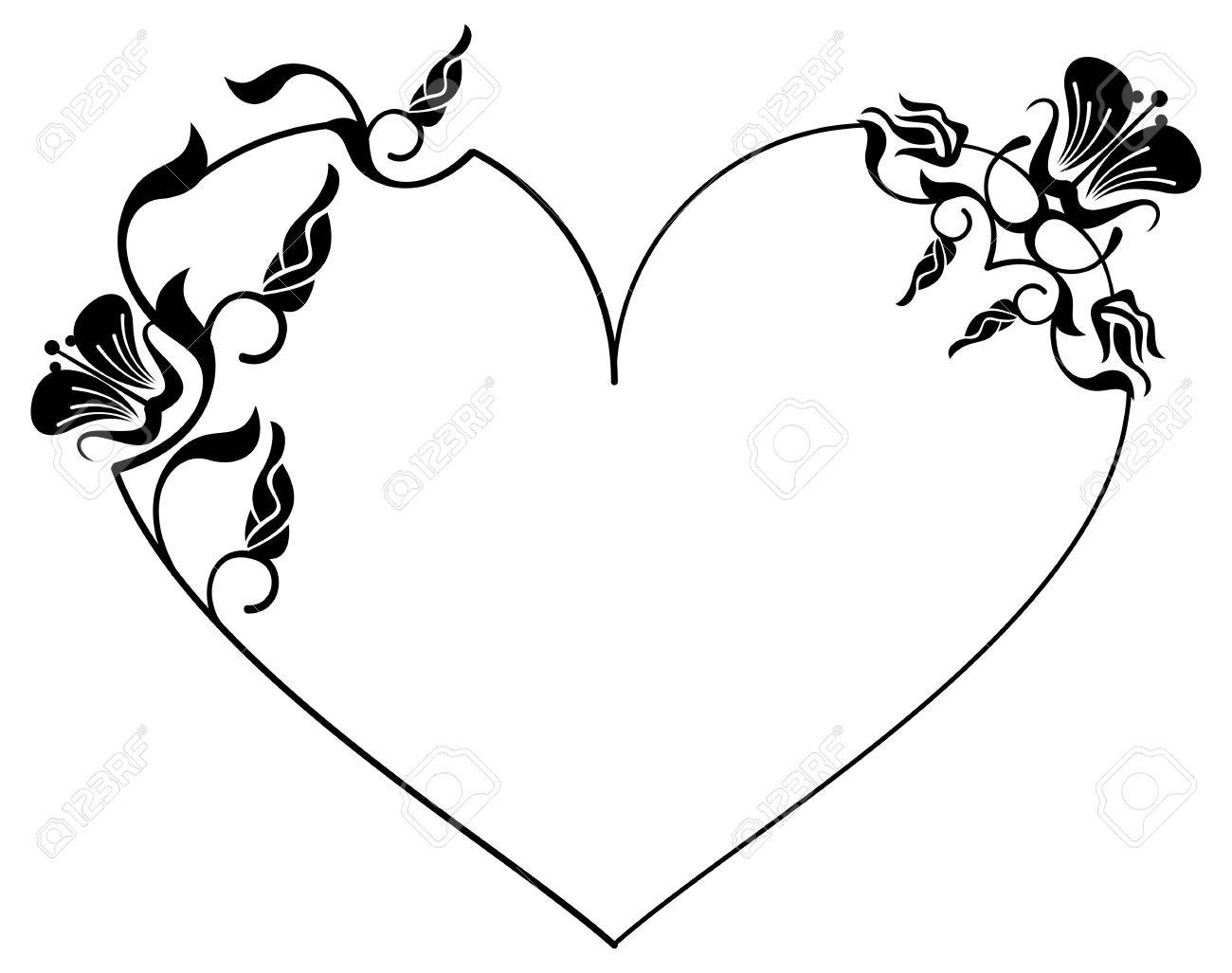 Heart free download best. Flower frame and hearts clipart black and white