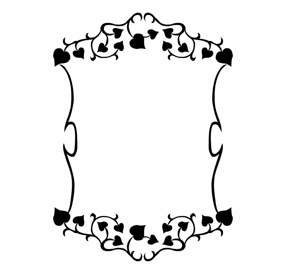 Frames borders clip art. Flower frame and hearts clipart black and white