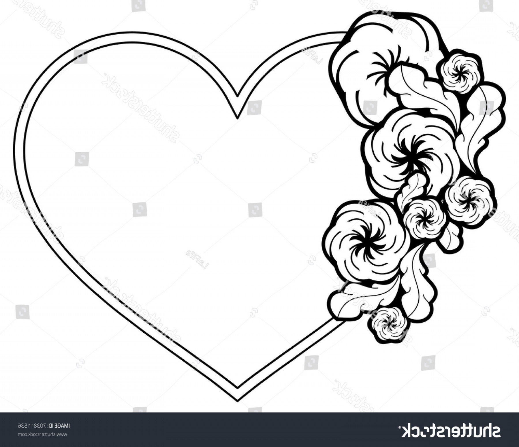 Heart shaped outline flowers. Flower frame and hearts clipart black and white