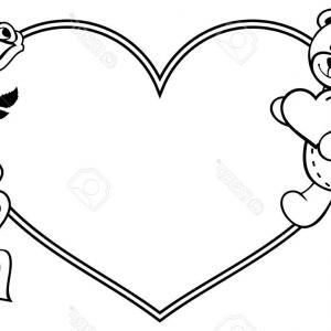 Flower frame and hearts clipart black and white. Heart outline clip art