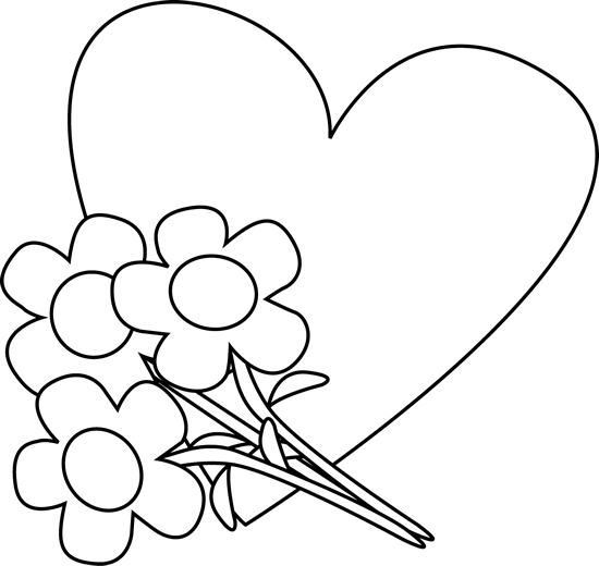 Flower frame and hearts clipart black and white. Free heart images download