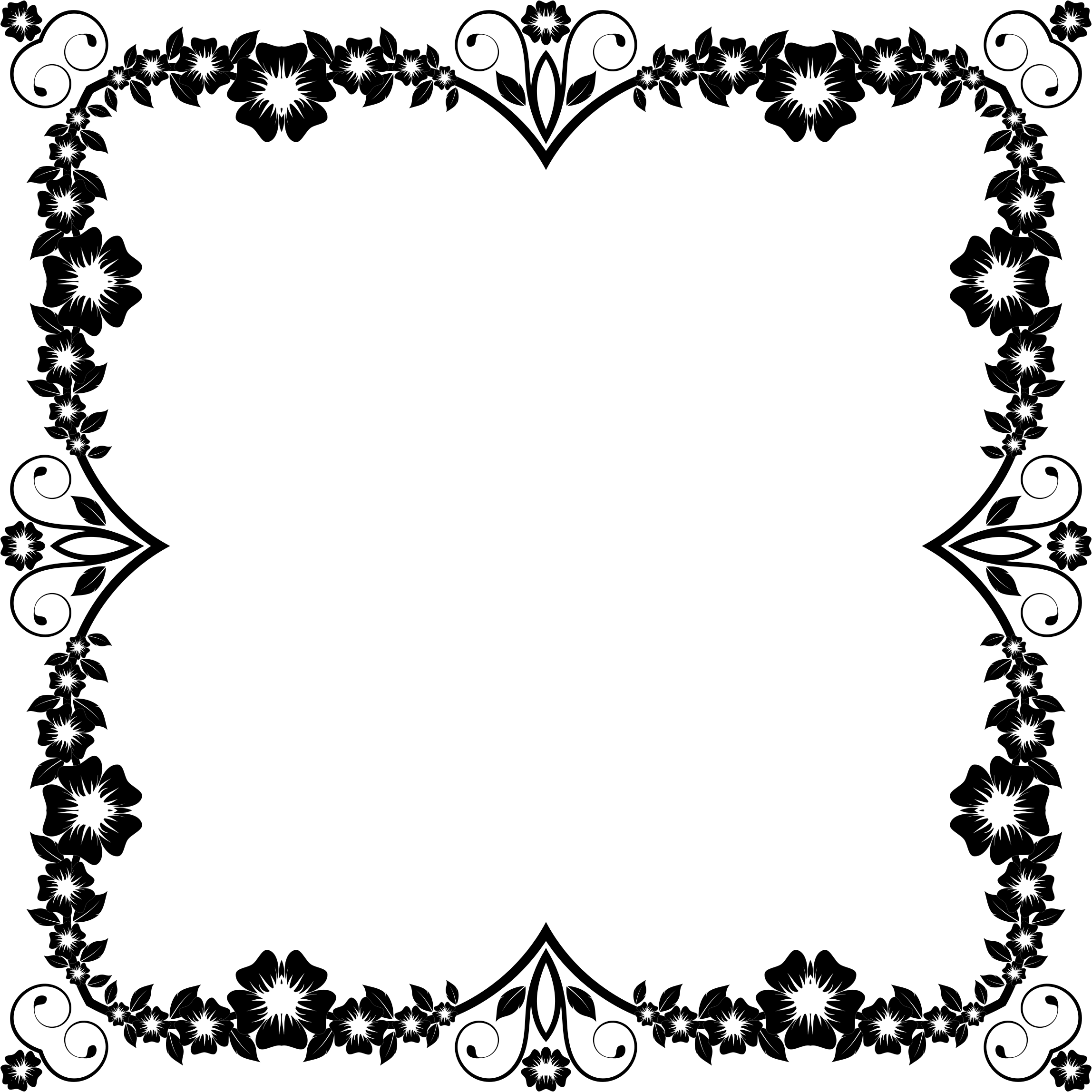 Flower frame clipart black and white picture royalty free library Clipart - Flower Frame Extrapolated 2 picture royalty free library